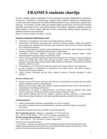 ERASMUS studento chartija - Tarptautinis skyrius
