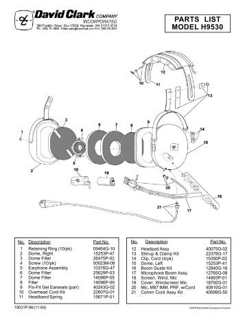 view parts list schematic david clark company incorporated parts list model h9530 david clark company incorporated