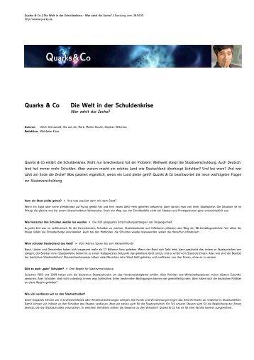 Quarks & Co Die Welt In Der Schuldenkrise - Wdr.de