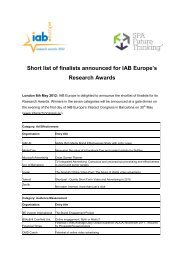 Short list of finalists announced for IAB Europe's Research Awards
