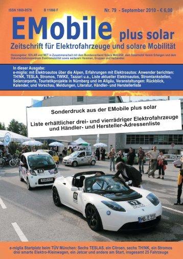 Liste käuflicher Elektroautos - solar+mobil+net