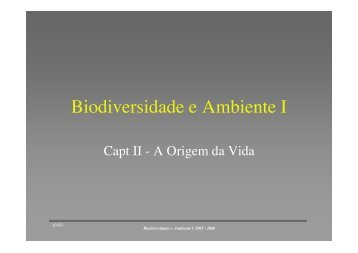 Biodiversidade e Ambiente I - Personal Web Pages
