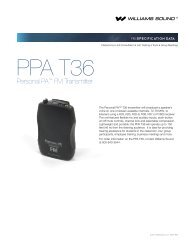 PPA T36 Specifications - Williams Sound