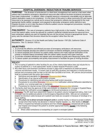 Department of emergency medicine guideline manual: policies and.