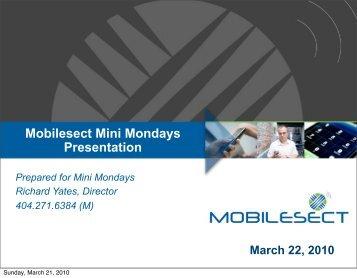 Mobilesect Mini Mondays Presentation - Siteminis