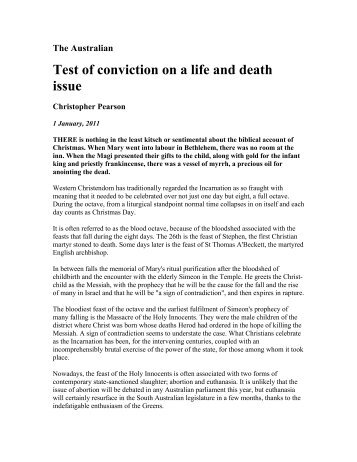 Test of conviction on a life and death issue - Family First Party