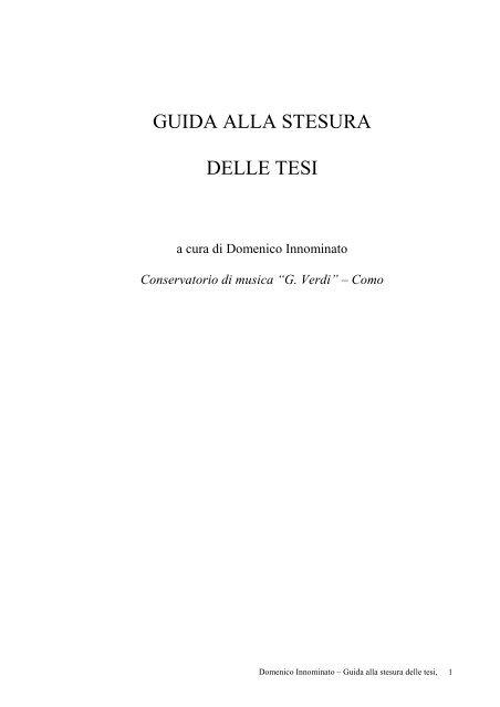 Guida Alla Stesura Delle Tesi Conservatorio Di Como