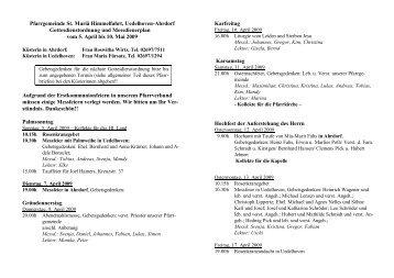Gottesdienstordnung und Messdienerplan vom 05.04. bis 10.05.2009