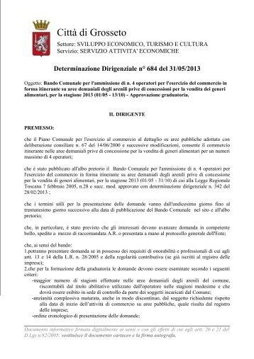 Determinazione Dirigenziale n° 684 del 31/05/2013 - Comune di ...