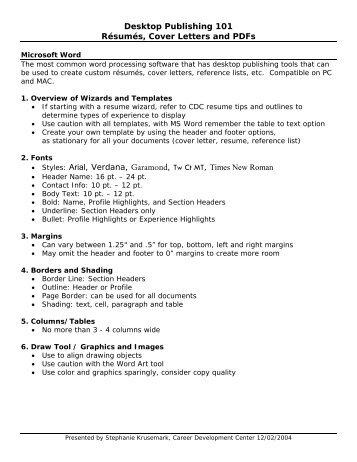 Desktop Publisher Resume | Desktop Publishing For Print Production Lab Manual