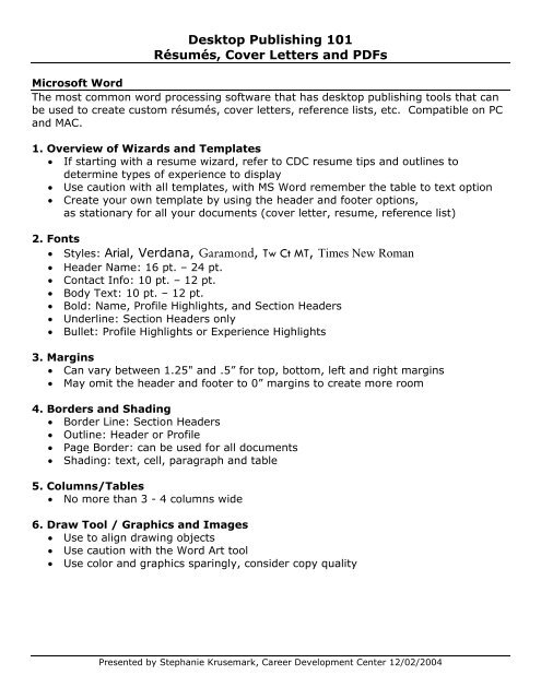Desktop Publishing 101 Resumes And Cover Letters