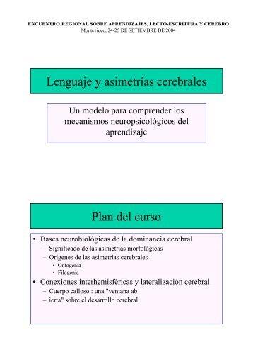 Lenguaje y asimetrías cerebrales Plan del curso - Resodys