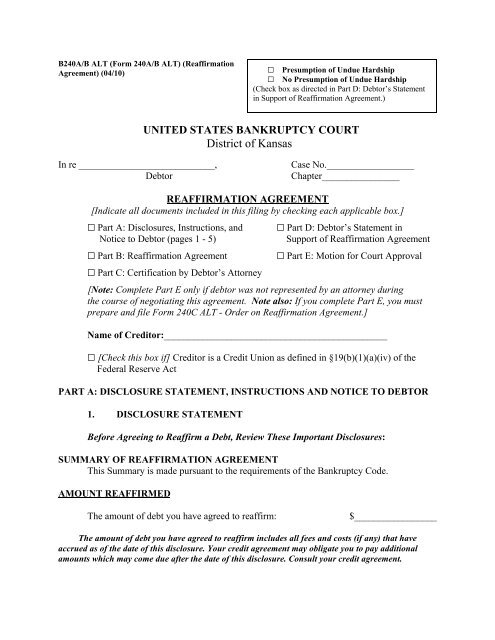 B240ab Alt Reaffirmation Agreement Us Bankruptcy Court