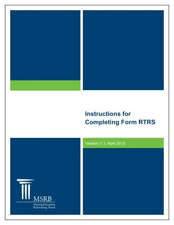 Instructions for Completing Form RTRS - Municipal Securities ...