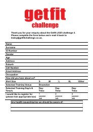 Thank you for your enquiry about the Getfit JOZI challenge 3. Please ...