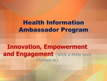Health Information Ambassador Program Innovation ... - MLGSCA