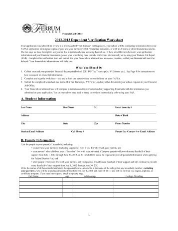 Printables Fafsa Verification Worksheet fafsa verification worksheet dependent intrepidpath worksheets