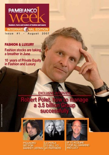 EXCLUSIVE INTERVIEW Robert Polet, how to ... - Pambianconews