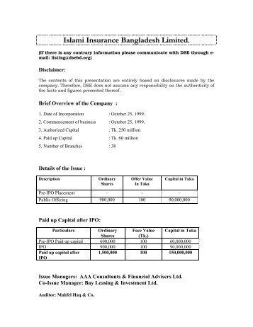 Islami Insurance Bangladesh Limited - Dhaka Stock Exchange