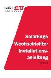 SolarEdge Installationsanleitung v2.1 Benutzeranleitung