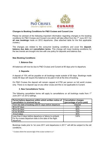 Changes to Booking Conditions for P&O Cruises and Cunard Line ...
