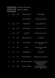 National Press Club of Australia Speakers List | 2000-2007