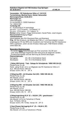 Ausschreibung Kl. Turnier2013 - Reitanlage-hegehof.de