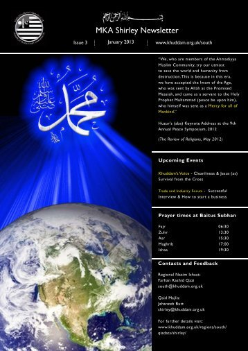 newsletter Shirley Jan 13.indd - Majlis Khuddamul Ahmadiyya UK