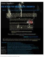 Sonic Studios Film Sound Designer Credits
