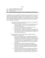 1 Memo To: Members of Budget Policy Committee From: Carol ...