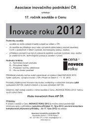 Inovace roku 2012 Inovace roku 2012 - AIP ČR