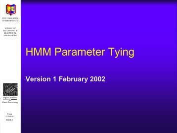 HMM Parameter Tying - University of Birmingham
