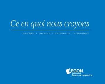 Profil de la société - Aegon Capital Management