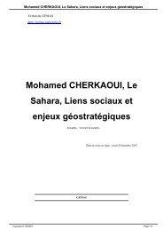 Mohamed CHERKAOUI, Le Sahara, Liens sociaux et enjeux ...
