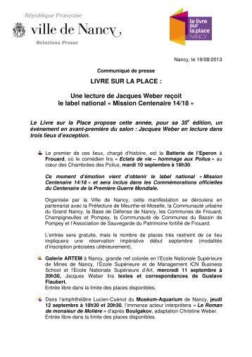 LIVRE SUR LA PLACE : Une lecture de Jacques ... - Ville de Nancy