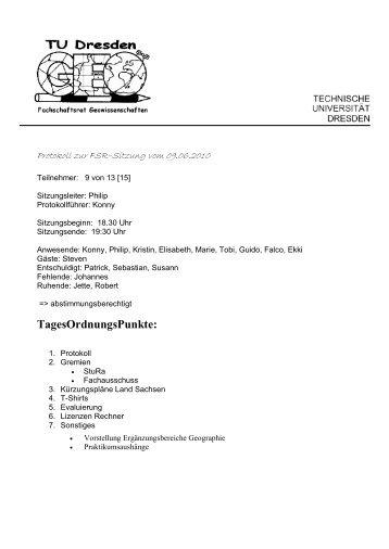 TagesOrdnungsPunkte: - phpweb.tu-dresden.de
