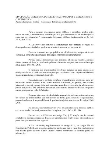 DIVULGAÇÃO DE RECEITA DE SERVENTIAS NOTARIAIS ... - Recivil