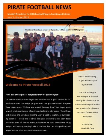 Football Newsletter Feb 2013 - Santa Ynez Valley Union High School