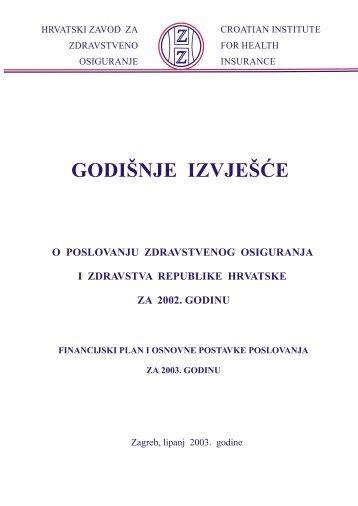 GODIŠNJE IZVJEŠĆE - Hrvatski zavod za zdravstveno osiguranje