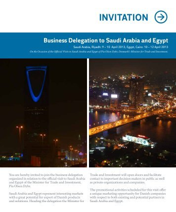 INVITATION Business Delegation to Saudi Arabia and Egypt