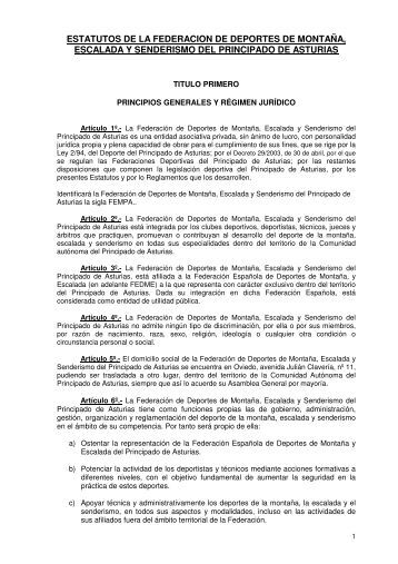 ESTATUTOS DE LA FEDERACION DE DEPORTES DE ... - fempa