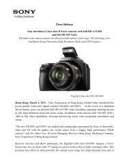 NEWS RELEASE: Immediate - Sony