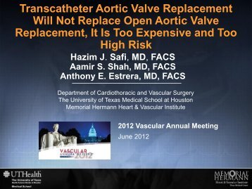 Transaortic Valve Replacement Will Not Replace ... - VascularWeb