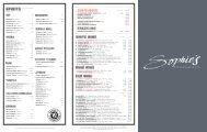 Cocktails List - Sophie's Steakhouse