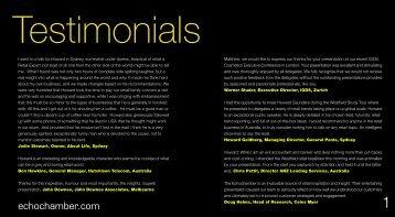Testimonials - the Echochamber