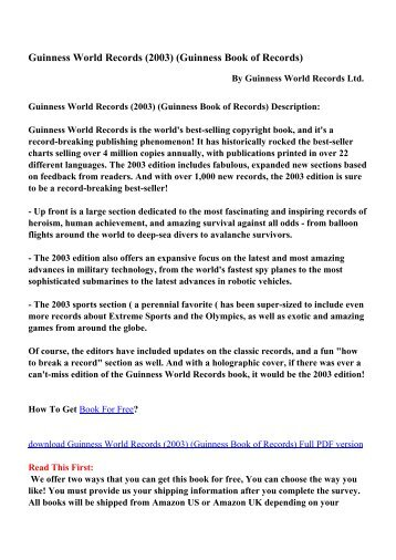 Guinness Book of Records - PDF eBooks Free Download