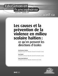 Les causes et la prévention de la violence en milieu scolaire ... - acelf