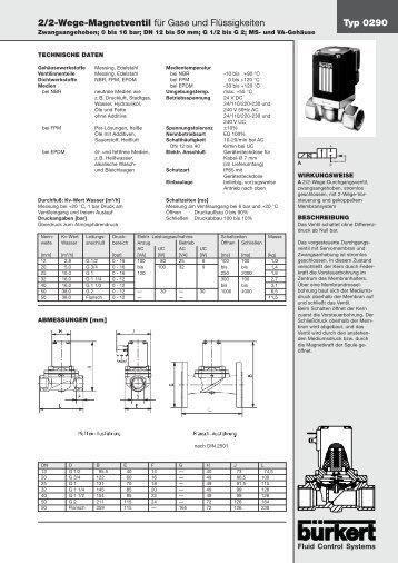 Typ 0290 2/2-Wege-Magnetventil für Gase und Flüssigkeiten - Burkert