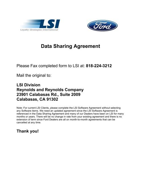 Data Sharing Agreement Lsi