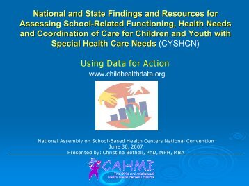 National and State Findings and Resources for Assessing School ...